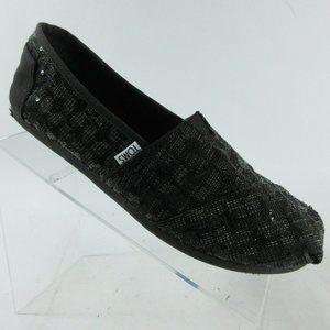 TOMS Classic Black Sequin Glitz Canvas Shoes Slip